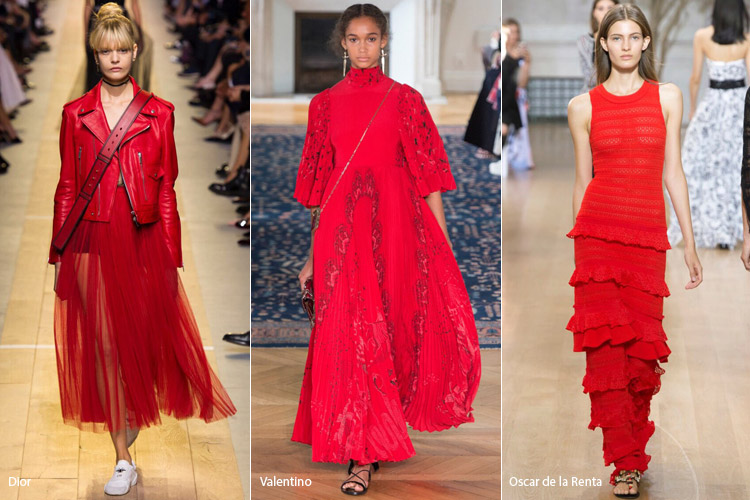 Модели в красном - модные тенденции весна/лето 2017