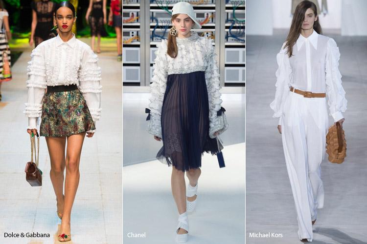 Модели в блузах с оборками на рукавах - модные тенденции весна/лето 2017