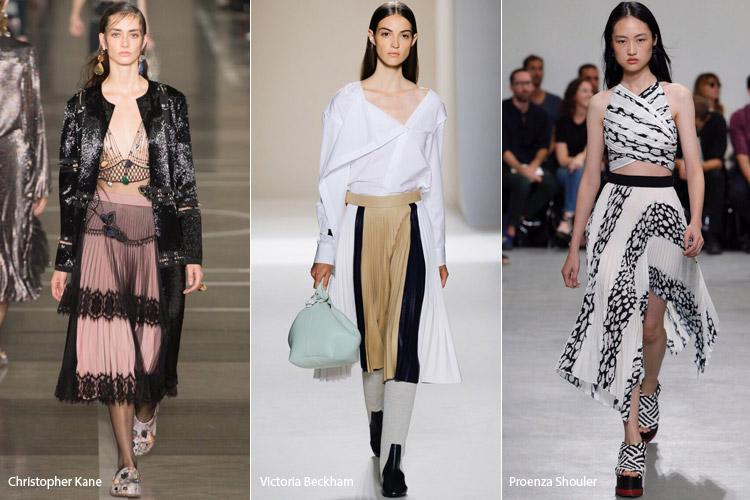 Модели в плиссированных юбках - модные тенденции весна/лето 2017