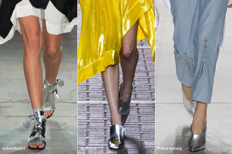 Серебристый - модная обувь весна/лето 2017