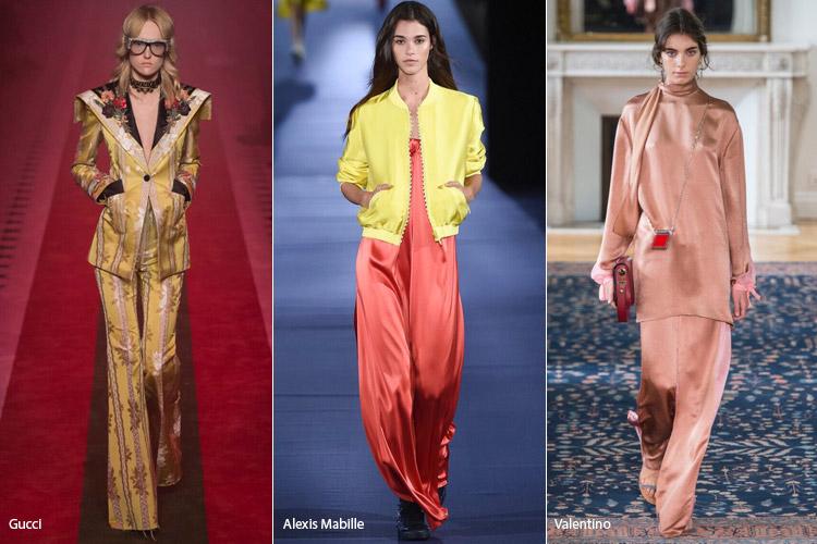 Модели в платье и костюмах из шелка - модные тенденции весна/лето 2017