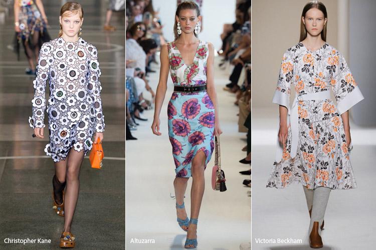 Модели в платьях абстрактным цветочным принтом - модные тенденции весна/лето 2017