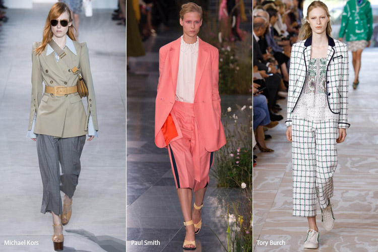 Модели в укороченных широких брюках - модные тенденции весна/лето 2017