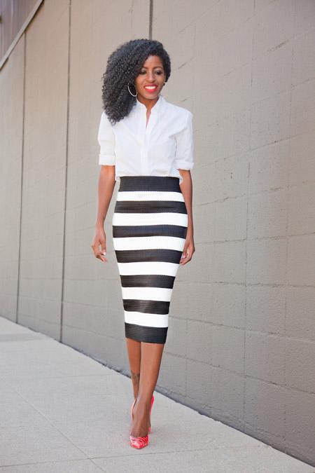 С чем носить юбки в горизонтальную черно-белую полоску