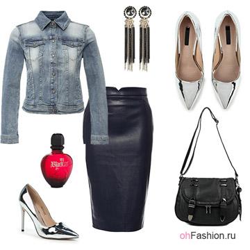 Образ с кожаной юбкой карандаш, джинсовкой и блестящими лодочками