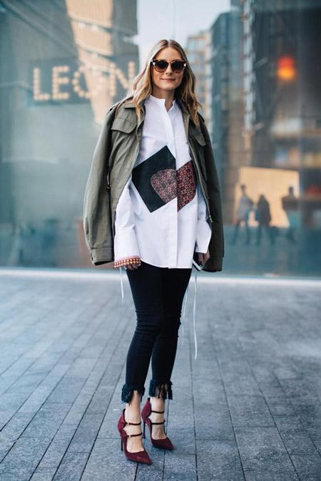 Оливия Палермо в капри и белой рубашке, фото Sandra Semburg