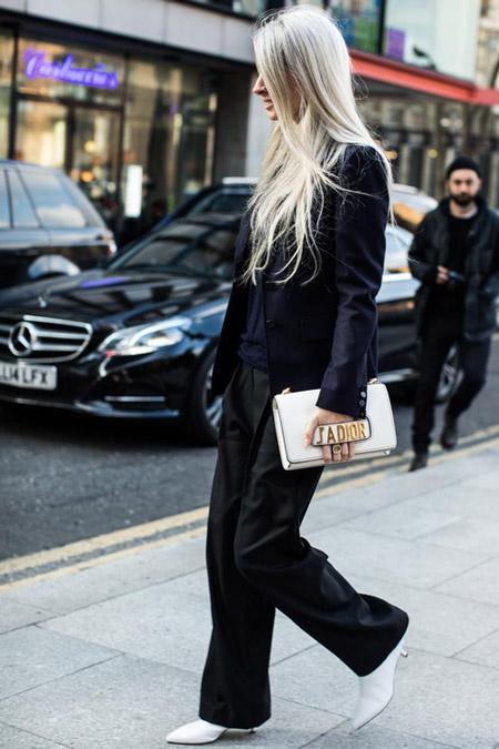 Девушка в широких черных брюках и пиджаке, фото Sandra Semburg
