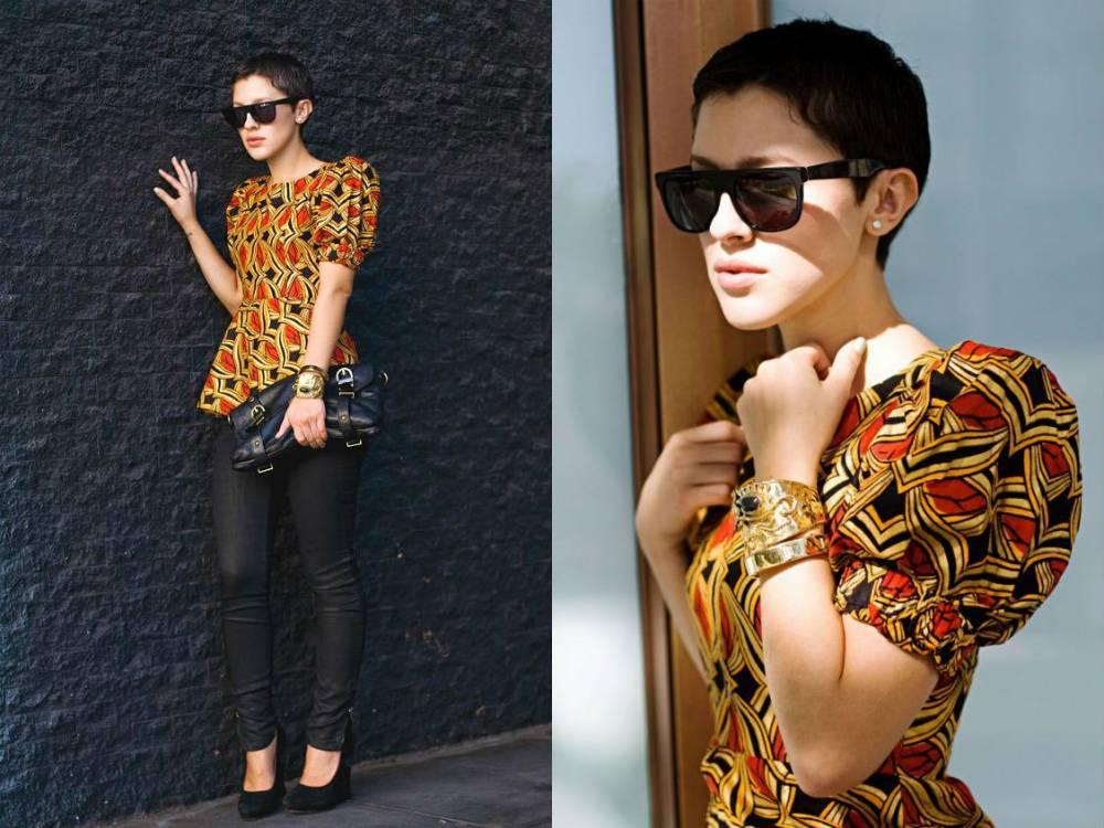 Девушка в блузке с рукавами-фонариками