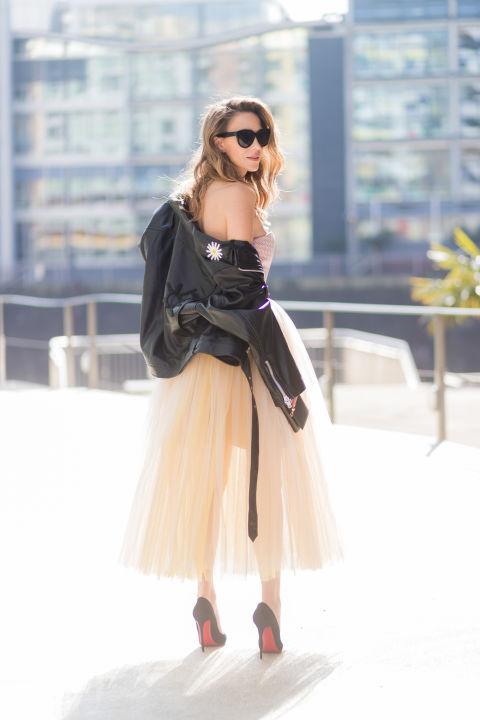 Сногсшибательный образ - юбка из фатина и кожаная куртка