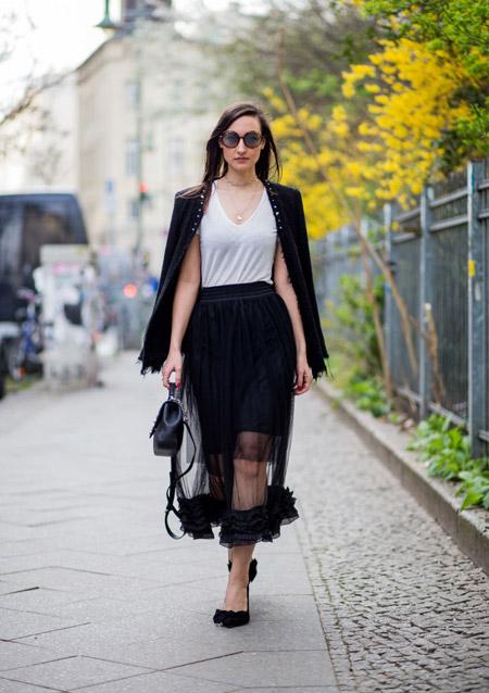 Девушка в черной юбке миди, топ и черный жакет