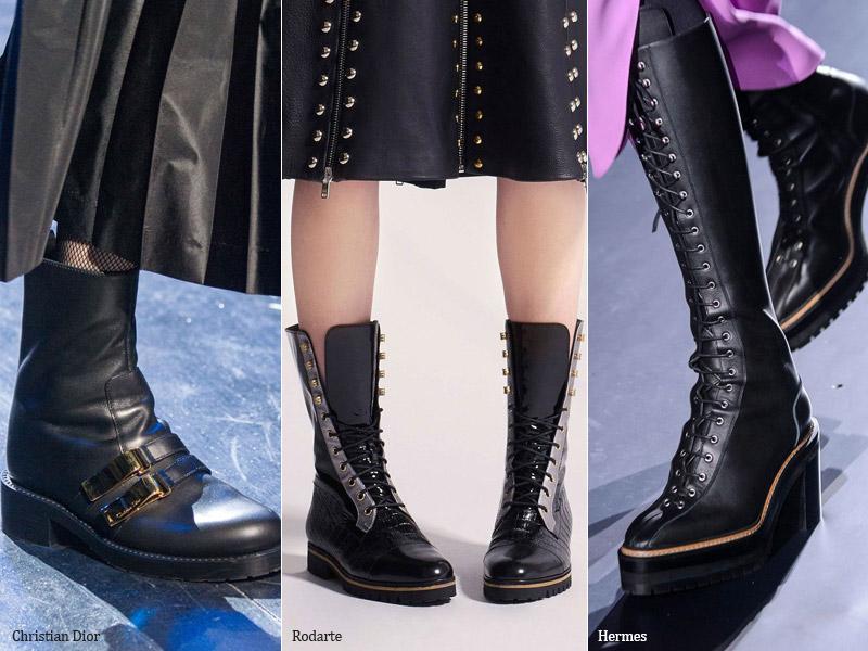 Черные массивные ботинки - модные тенденции обувь осень 2017 / зима 2018