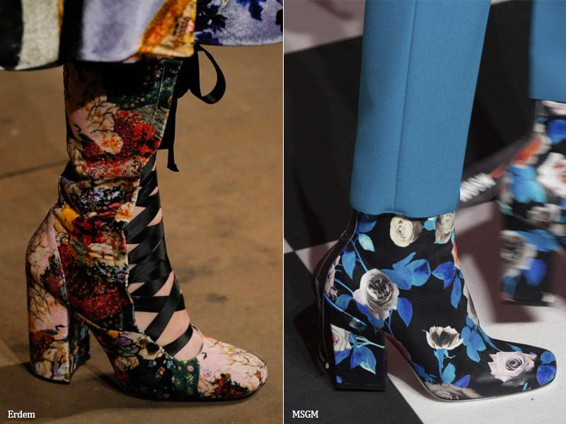 Ботильоны с цветочным принтом - модные тенденции обувь осень 2017 / зима 2018