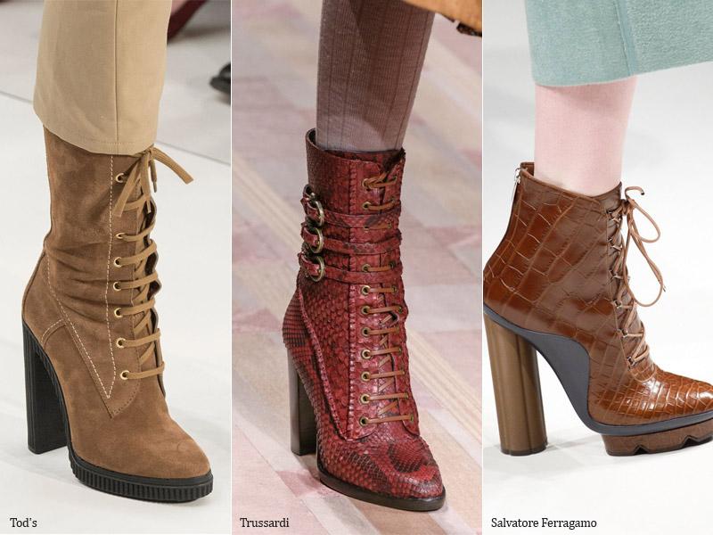 Ботильоны на шнурках - модные тенденции обувь осень 2017 / зима 2018