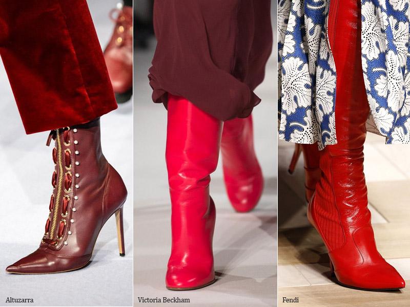 Красные сапоги - модные тенденции обувь осень 2017 / зима 2018