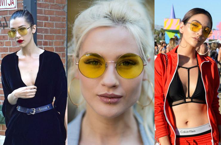 Девушки в очках с желтыми линзами