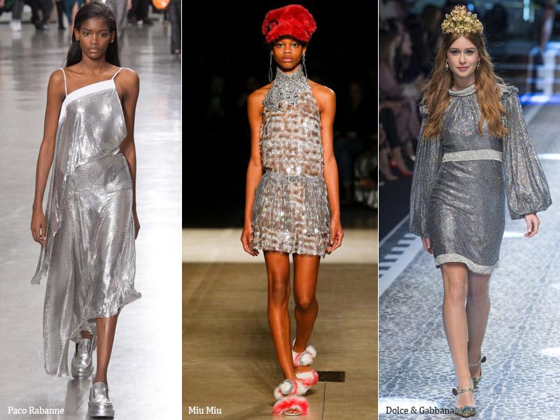 Тренд 1 серебристые платья - сезон осень-зима 2017