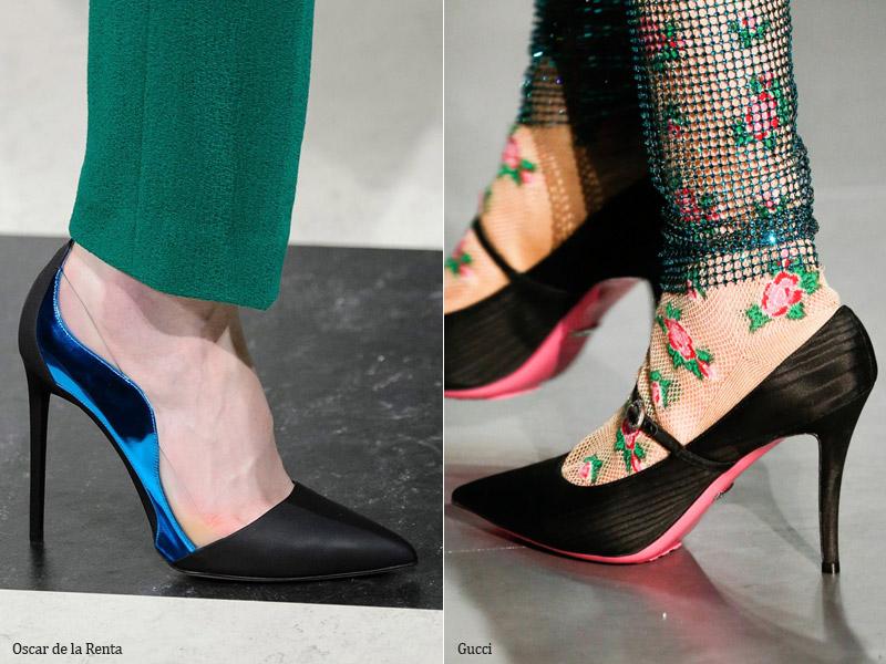 Красивые туфли из шелка и сатина - модные тенденции обувь осень 2017 / зима 2018