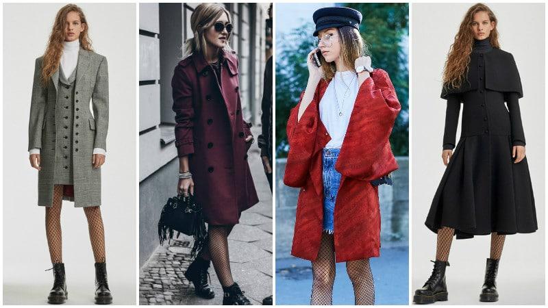 Девушки в колготках в сетку и пальто