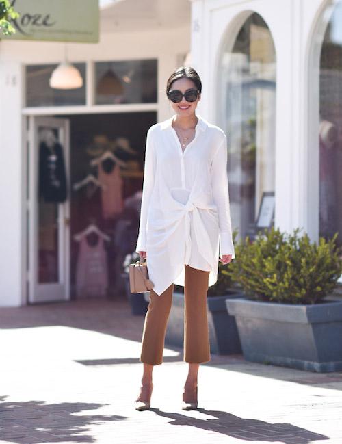 Девушка в брюках и белой блузе - стильный образ на лето 2017