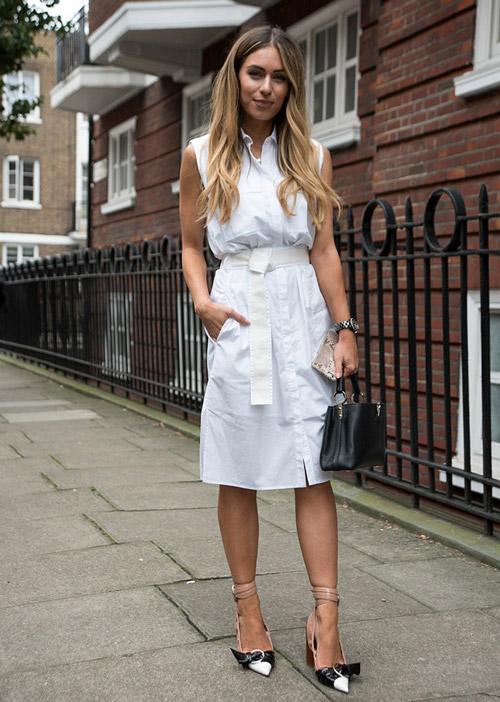 Девушка в легком белом платье без рукавов - стильный образ на лето 2017