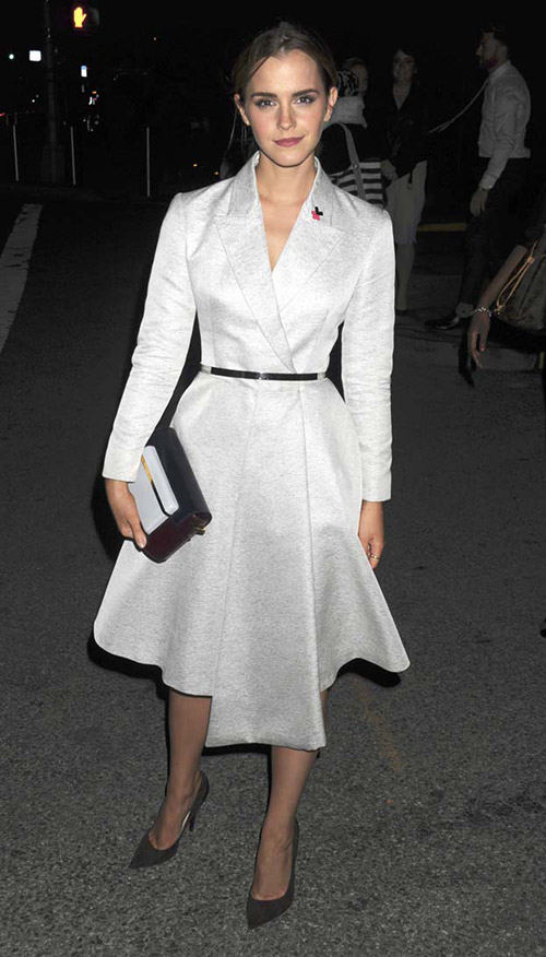 После выступления в пальто от Dior в Лос-Анджелесе, сентябрь 2014