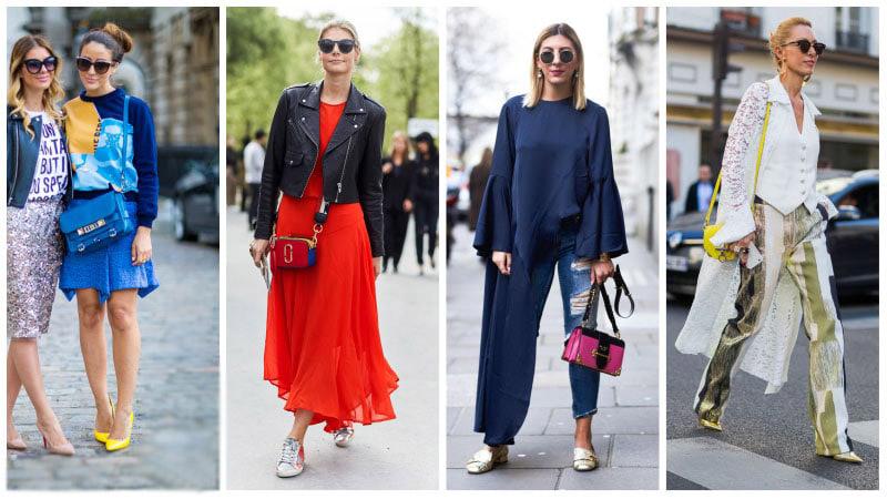 Девушки с яркими сумочками на ремнях