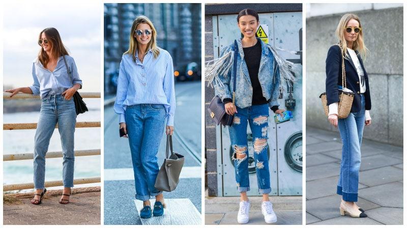 Девушки в голубых джинсах бойфрендах