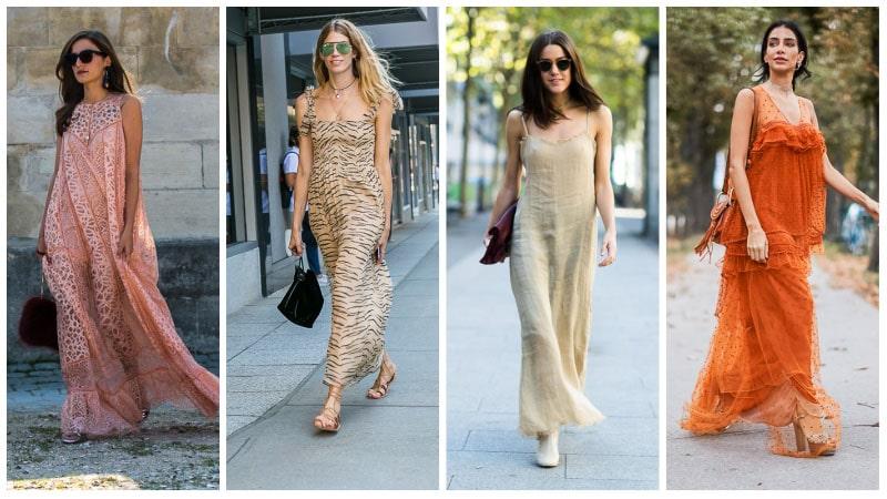 Девушки в летних легких платьях макси