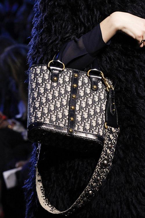 Девушка с роскошной сумкой с широким ремнем от christian dior сезон осень 2017 - зима 2018