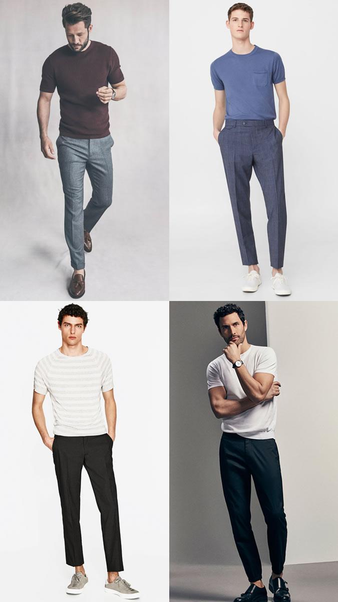 Мужчины в брюках со стрелками и футболках