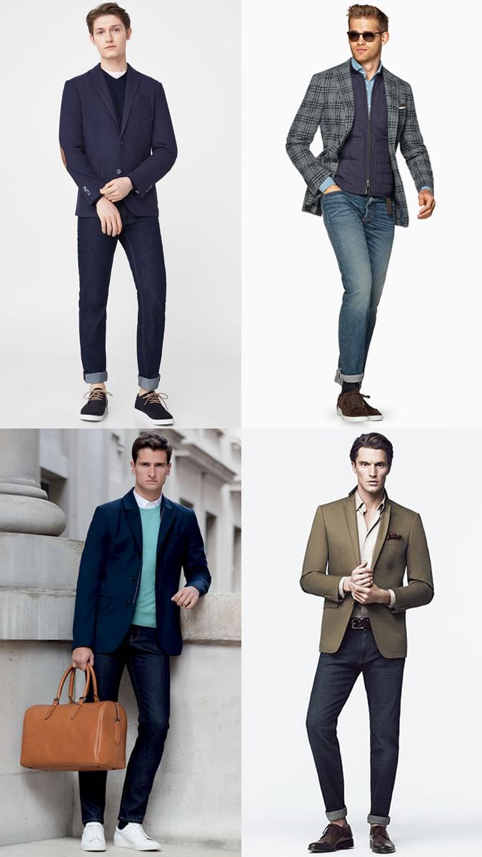 Мужчины в пиджаках с джинсами