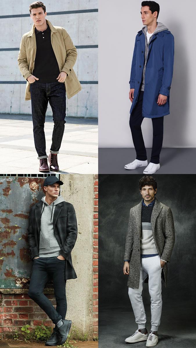 Мужчины в штанах и удлиненных пальто