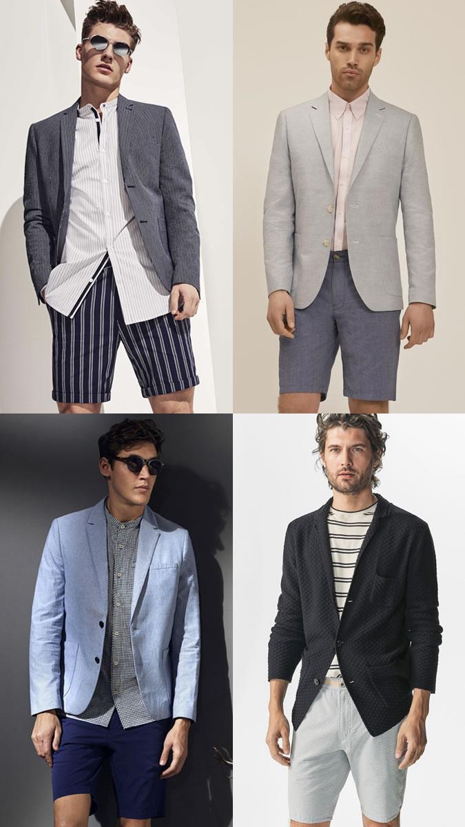 Парни в шортах бермудах и пиджаке