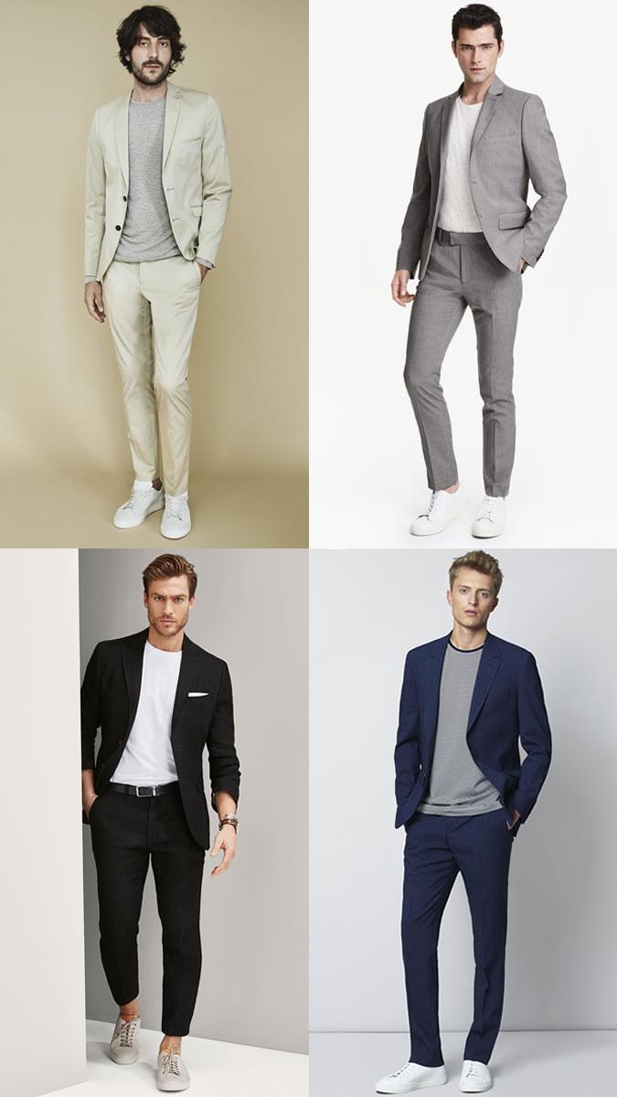 Парни в зауженных брюках, пиджаках и поло