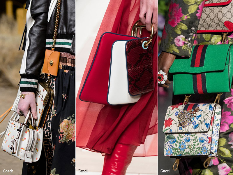 Несколько сумок на модели модные тенденции сезона осень 2017 - зима 2018