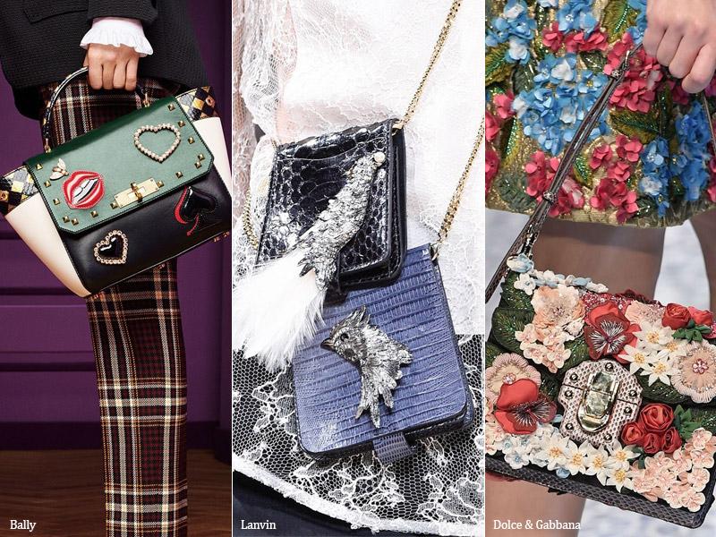 Объемный декор на сумках модные тенденции сезона осень 2017 - зима 2018