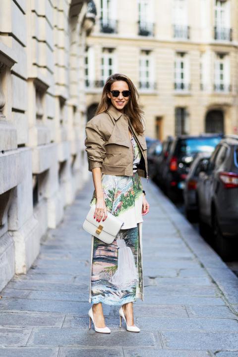 Удлини ноги, сочетая квадратную короткую куртку и длинную юбку