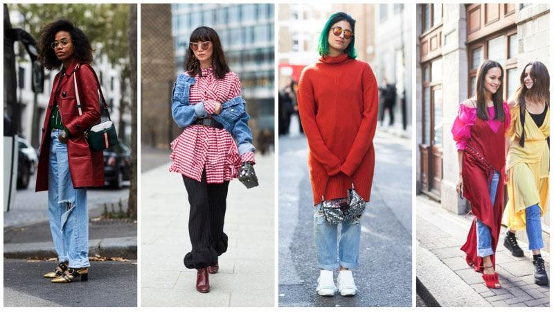 Модели в красной одежде в сочетании с денимом
