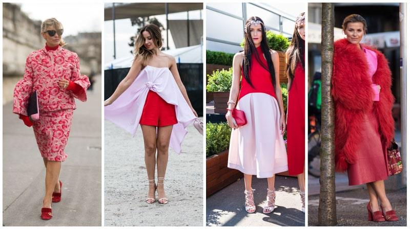Девушки в красно-розовых нарядах