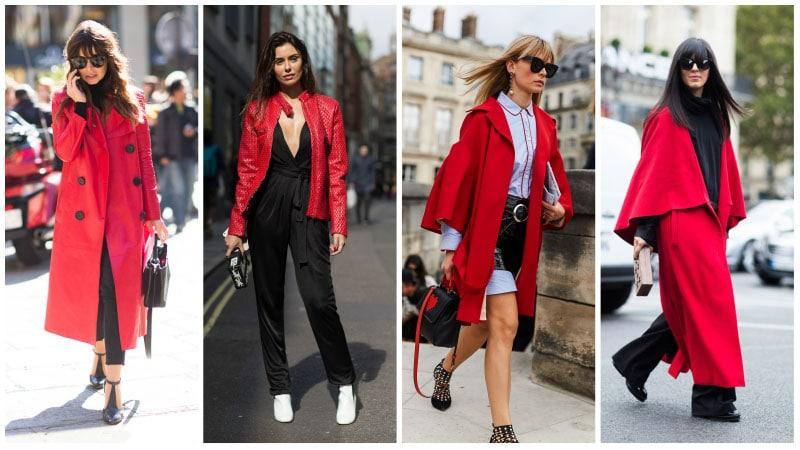 Девушки в красных пальто и куртках