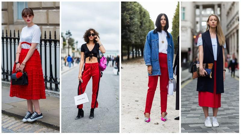 Девушки в красных юбках и юрбках