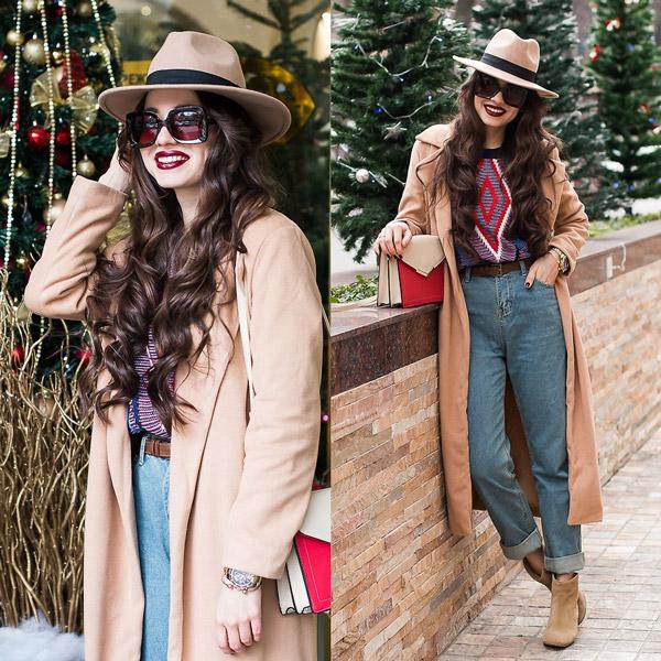 Девушка в джинсах американках, свитшот , бежевое пальто и шляпа