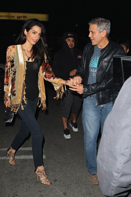 Амаль Клуни по дороге в ресторан, Калифорния декабрь 2014