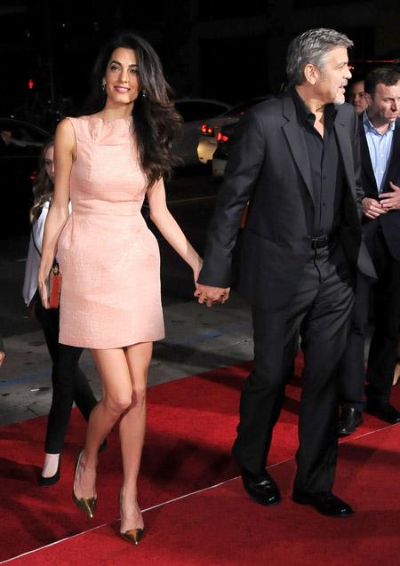 """Амаль Клуни на премьере фильма """"Наш бренд — кризис"""" в Лос-Анджелесе, октябрь 2015"""