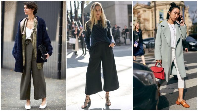Девушка в капри и пальто, туфли на низком каблуке