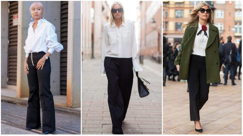 Девушки в белых рубашках и черных брюках
