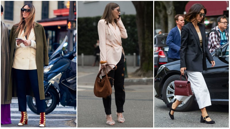 Девушки в брюках, туфли на низком каблуке и пиджак