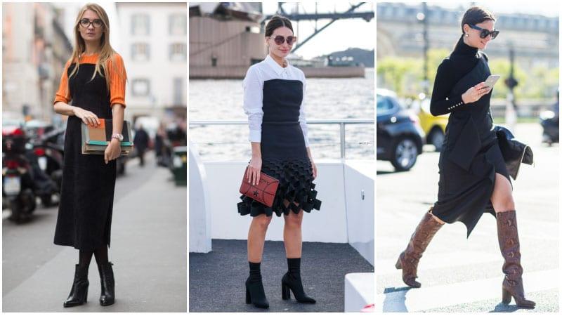Девушки в черных сарафанах и ботильонах на толстом каблуке