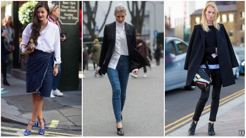 Девушки в дениме, белая рубашка и черный пиджак