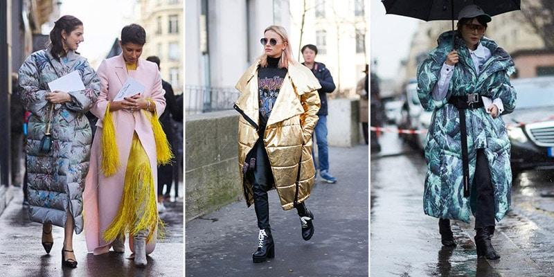 Девушки в длинных дутых куртках
